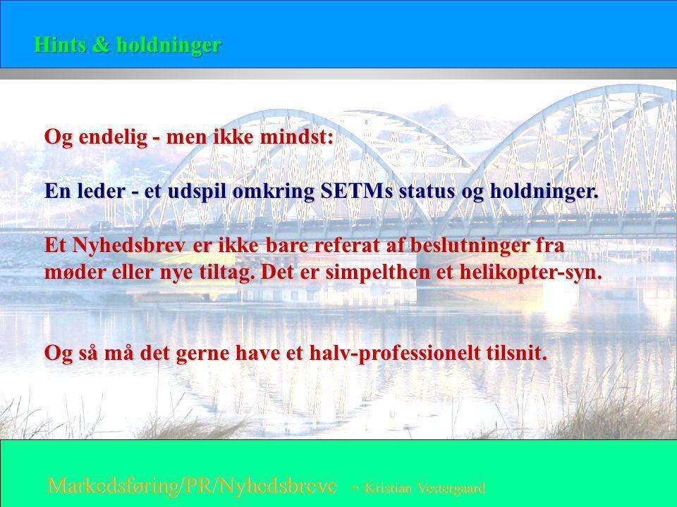 Hints & holdninger Og endelig - men ikke mindst: En leder - et udspil omkring SETMs status og holdninger.