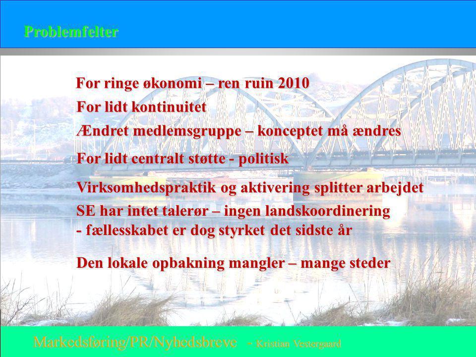 Problemfelter For ringe økonomi – ren ruin 2010. For lidt kontinuitet. Ændret medlemsgruppe – konceptet må ændres.
