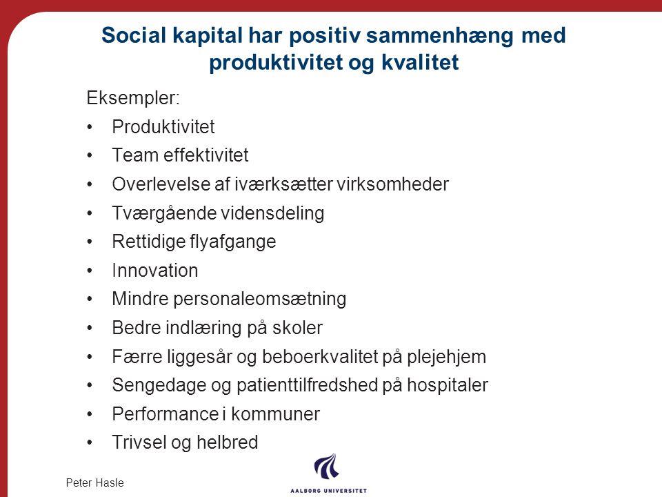 Social kapital har positiv sammenhæng med produktivitet og kvalitet