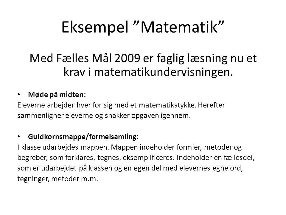 Eksempel Matematik Med Fælles Mål 2009 er faglig læsning nu et krav i matematikundervisningen. Møde på midten: