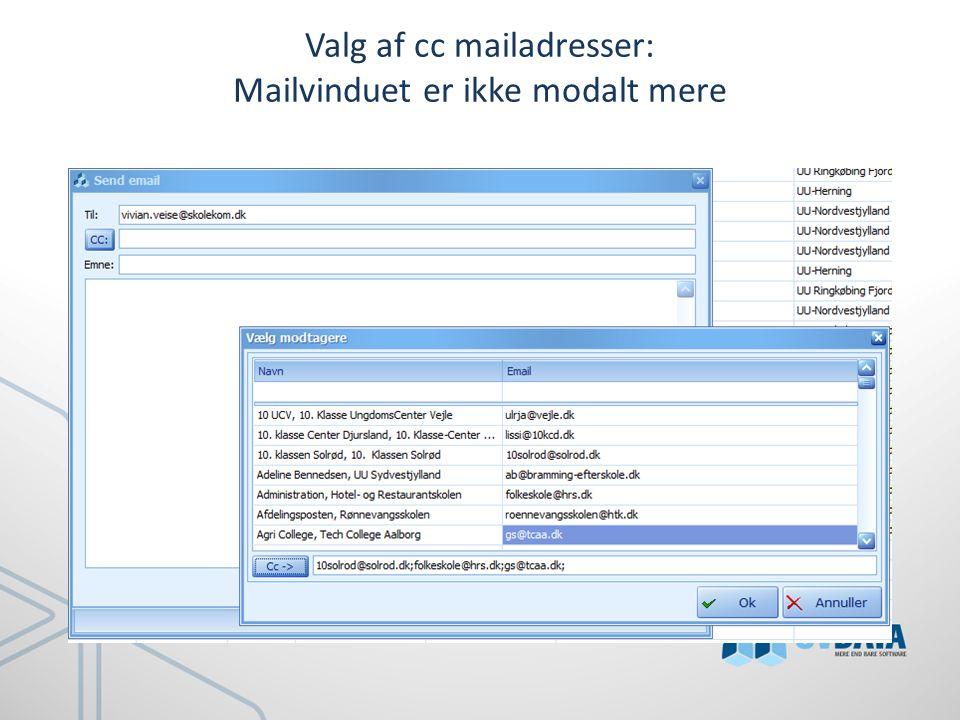 Valg af cc mailadresser: Mailvinduet er ikke modalt mere