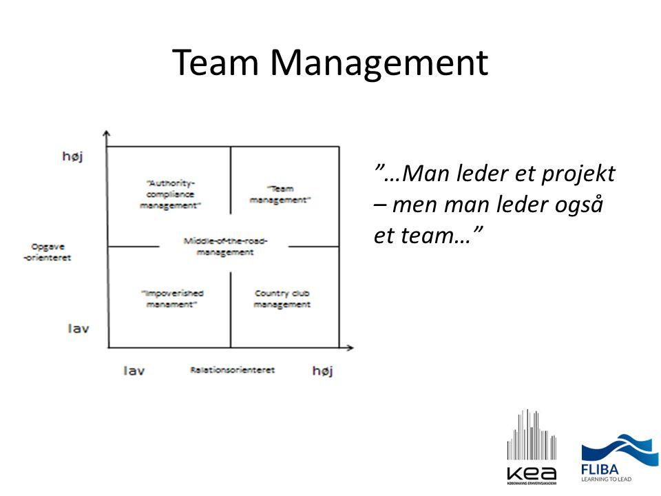 Team Management …Man leder et projekt – men man leder også et team…