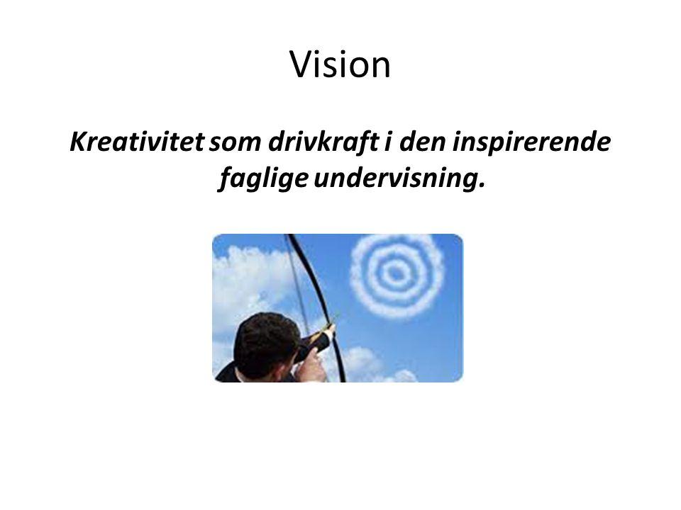 Kreativitet som drivkraft i den inspirerende faglige undervisning.