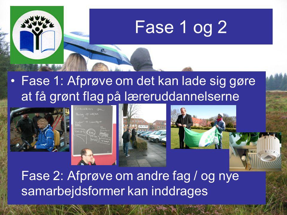 Fase 1 og 2 Fase 1: Afprøve om det kan lade sig gøre at få grønt flag på læreruddannelserne.