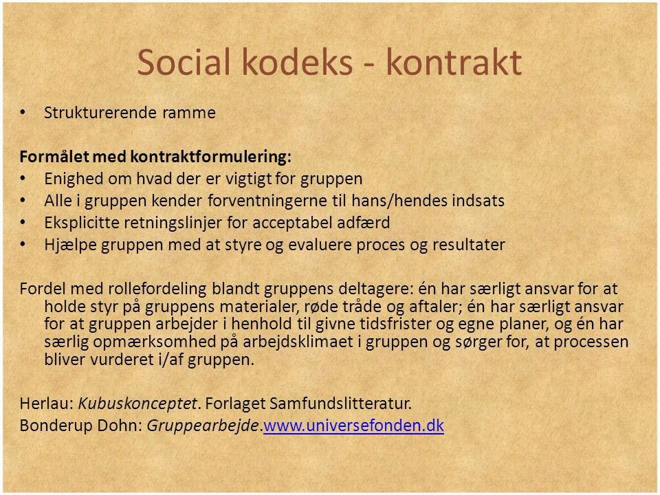 Social kodeks - kontrakt