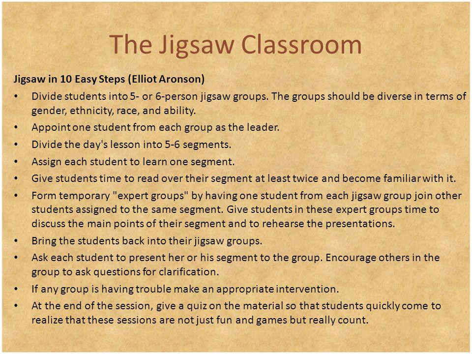 The Jigsaw Classroom Jigsaw in 10 Easy Steps (Elliot Aronson)