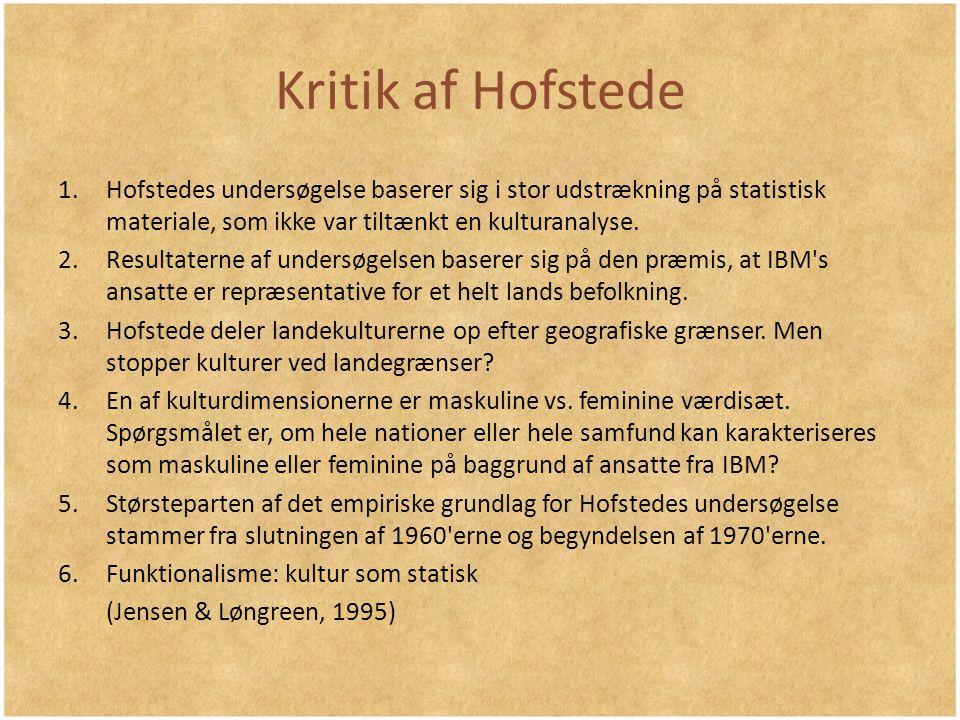 Kritik af Hofstede Hofstedes undersøgelse baserer sig i stor udstrækning på statistisk materiale, som ikke var tiltænkt en kulturanalyse.