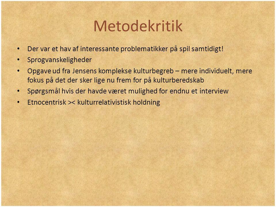 Metodekritik Der var et hav af interessante problematikker på spil samtidigt! Sprogvanskeligheder.