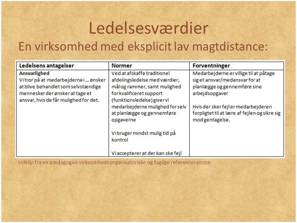 Ledelsesværdier En virksomhed med eksplicit lav magtdistance: