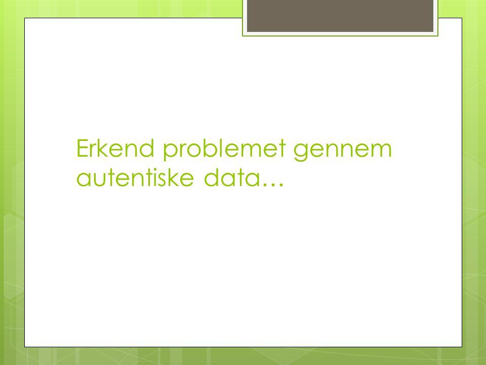 Erkend problemet gennem autentiske data…