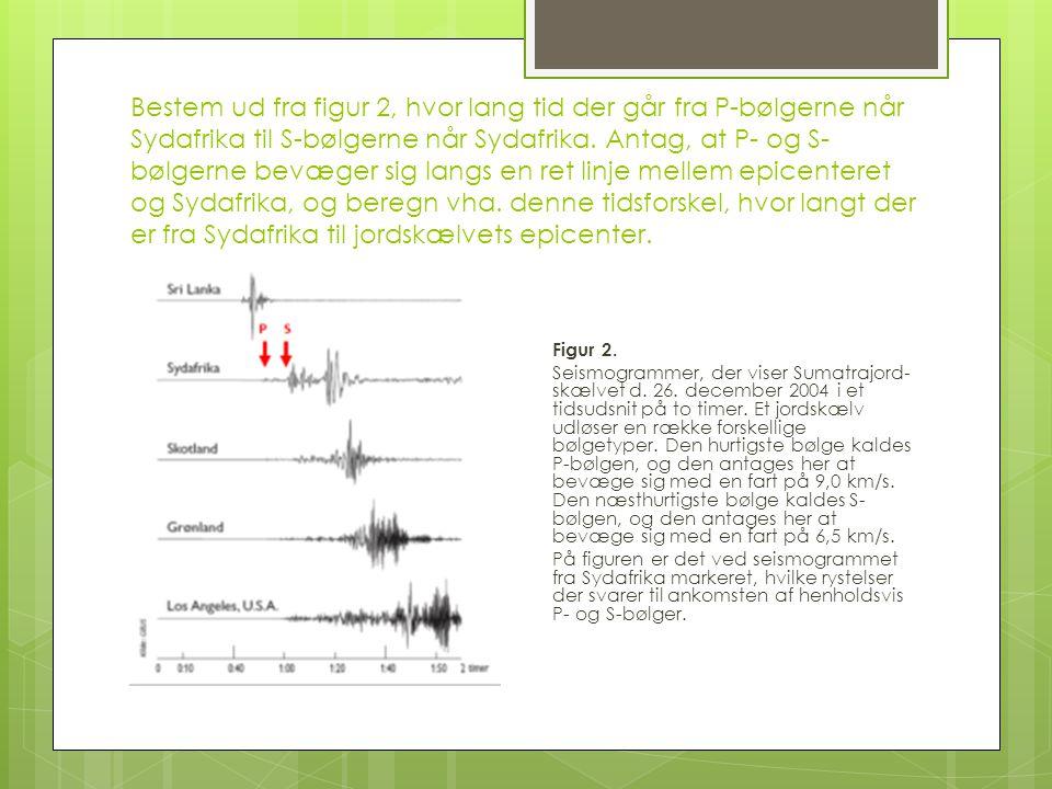 Bestem ud fra figur 2, hvor lang tid der går fra P-bølgerne når Sydafrika til S-bølgerne når Sydafrika. Antag, at P- og S-bølgerne bevæger sig langs en ret linje mellem epicenteret og Sydafrika, og beregn vha. denne tidsforskel, hvor langt der er fra Sydafrika til jordskælvets epicenter.