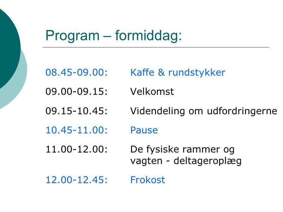 Program – formiddag: 08.45-09.00: Kaffe & rundstykker