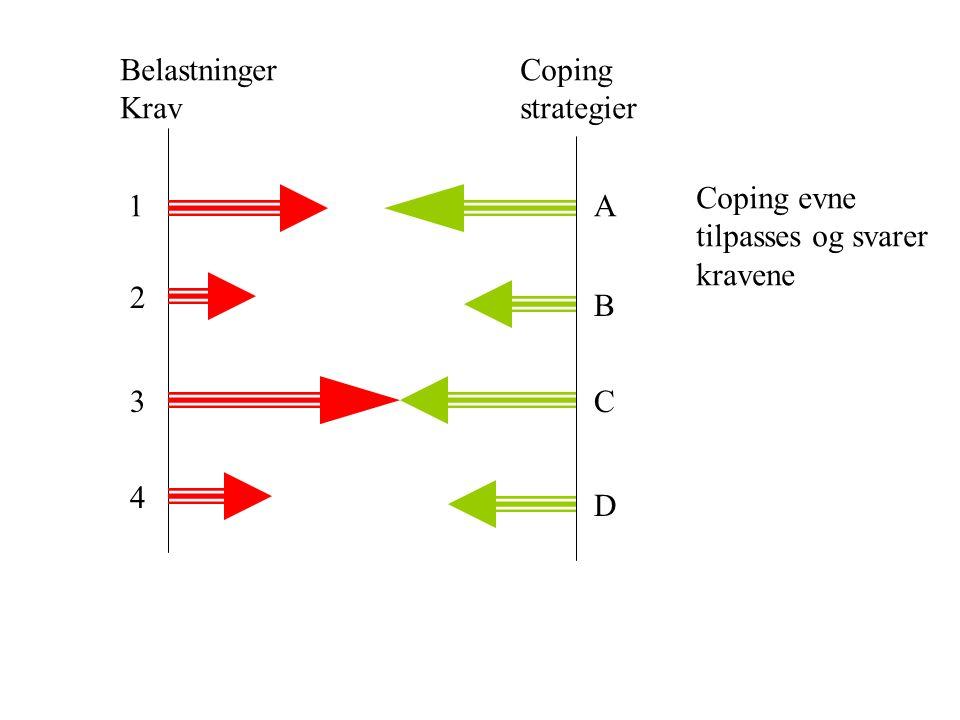 Belastninger Krav Coping strategier Coping evne tilpasses og svarer kravene 1 A 2 B 3 C 4 D
