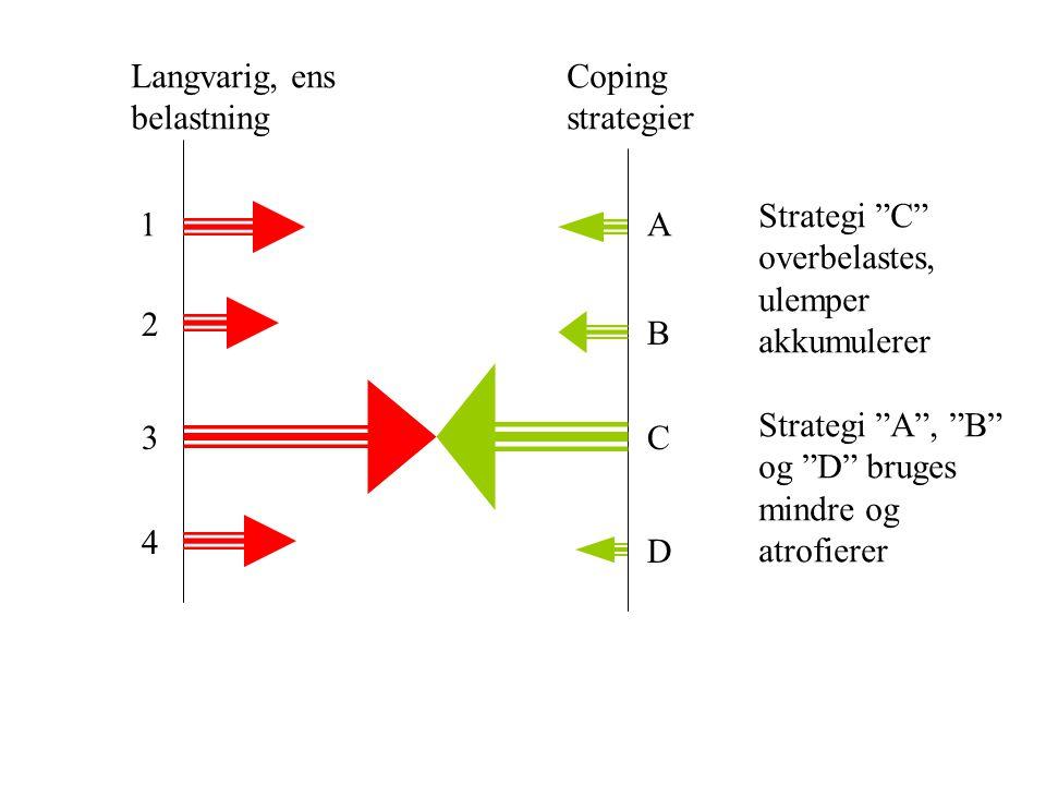 Langvarig, ens belastning. Coping. strategier. Strategi C overbelastes, ulemper. akkumulerer.