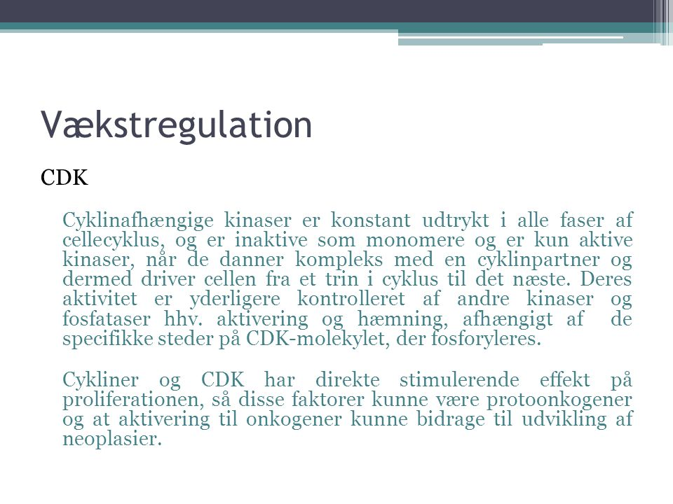 Vækstregulation CDK.