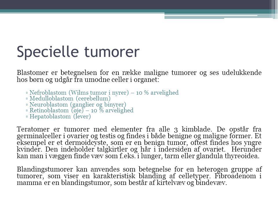 Specielle tumorer Blastomer er betegnelsen for en række maligne tumorer og ses udelukkende hos børn og udgår fra umodne celler i organet: