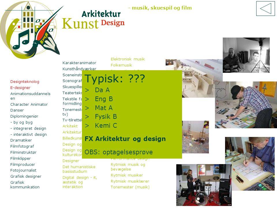 Typisk: Da A Eng B Mat A Fysik B Kemi C FX Arkitektur og design