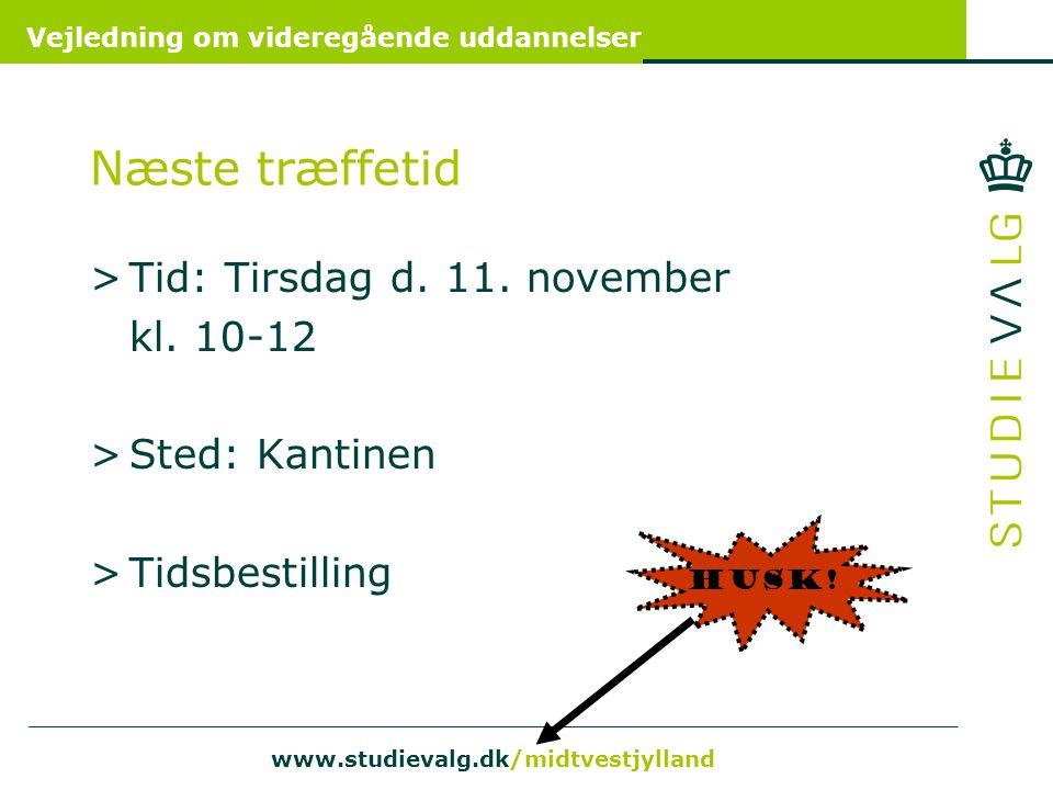Næste træffetid Tid: Tirsdag d. 11. november kl. 10-12 Sted: Kantinen
