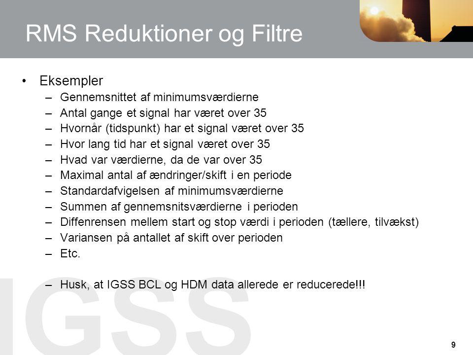 RMS Reduktioner og Filtre