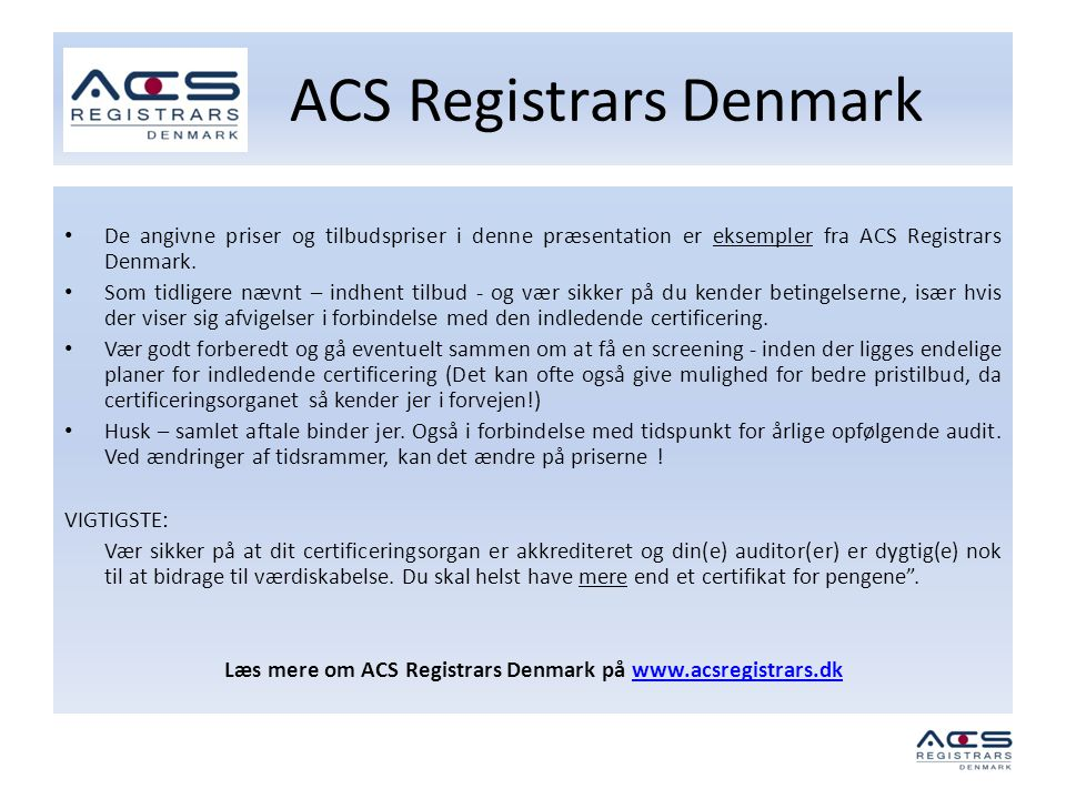 ACS Registrars Denmark