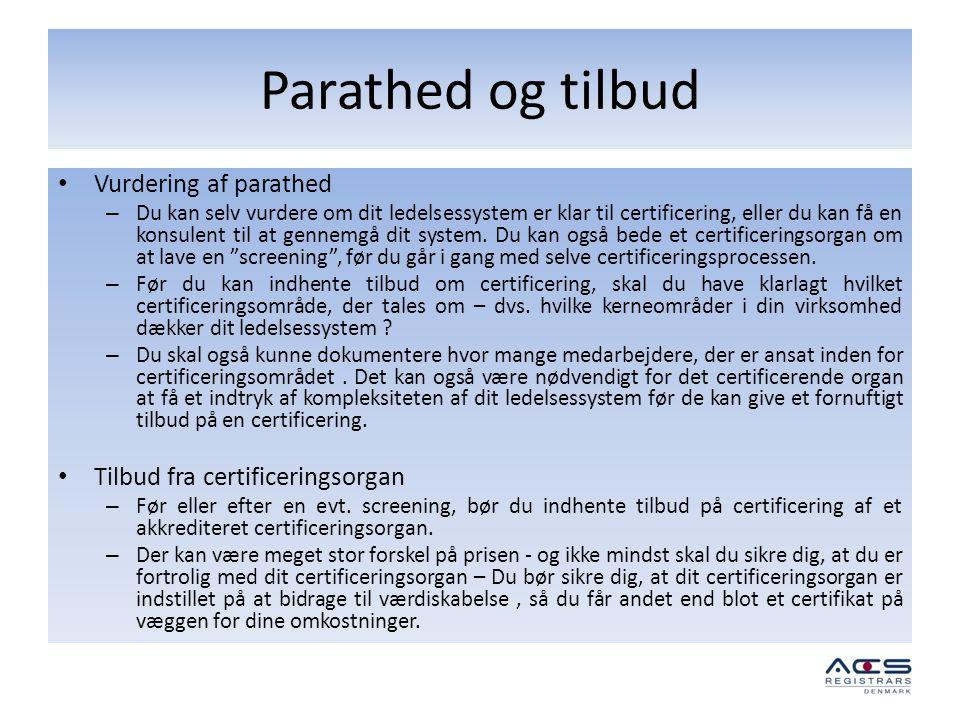 Parathed og tilbud Vurdering af parathed