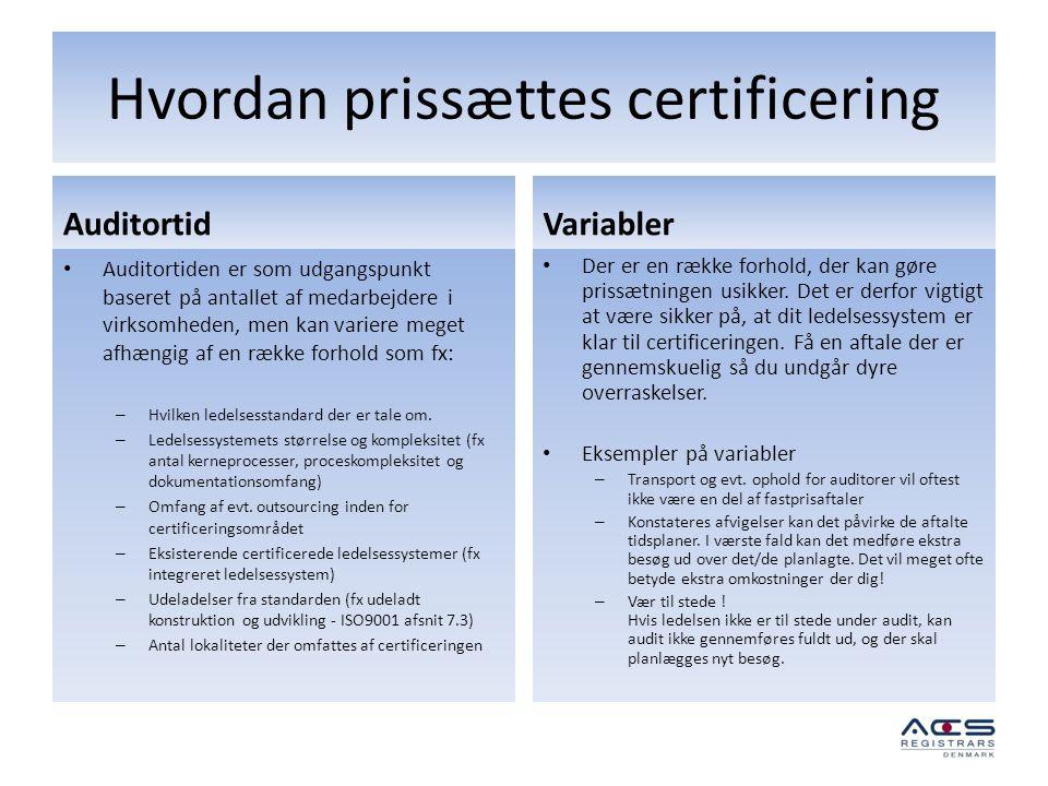 Hvordan prissættes certificering