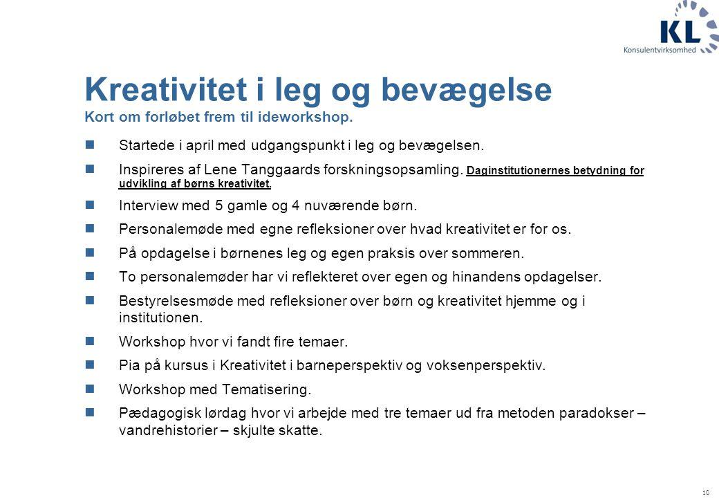 Kreativitet i leg og bevægelse Kort om forløbet frem til ideworkshop.