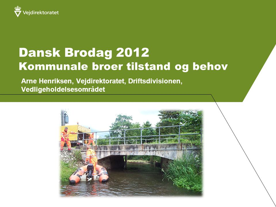 Dansk Brodag 2012 Kommunale broer tilstand og behov