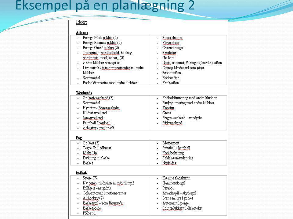 Eksempel på en planlægning 2
