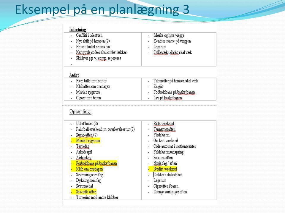 Eksempel på en planlægning 3