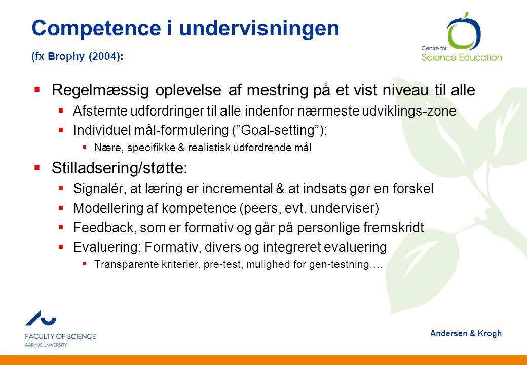 Competence i undervisningen (fx Brophy (2004):