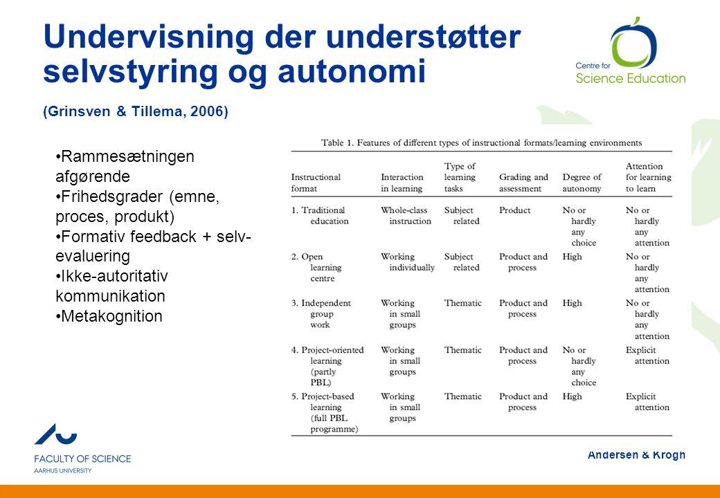 Undervisning der understøtter selvstyring og autonomi (Grinsven & Tillema, 2006)