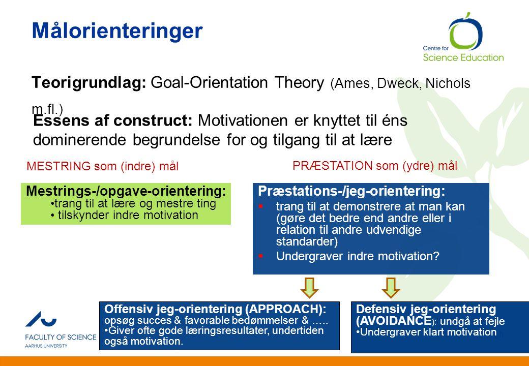 Målorienteringer Teorigrundlag: Goal-Orientation Theory (Ames, Dweck, Nichols m.fl.)