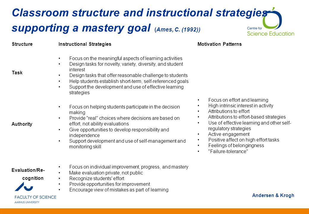 Classroom structure and instructional strategies supporting a mastery goal (Ames, C. (1992))