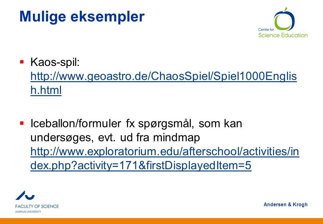 Mulige eksempler Kaos-spil: http://www.geoastro.de/ChaosSpiel/Spiel1000English.html.