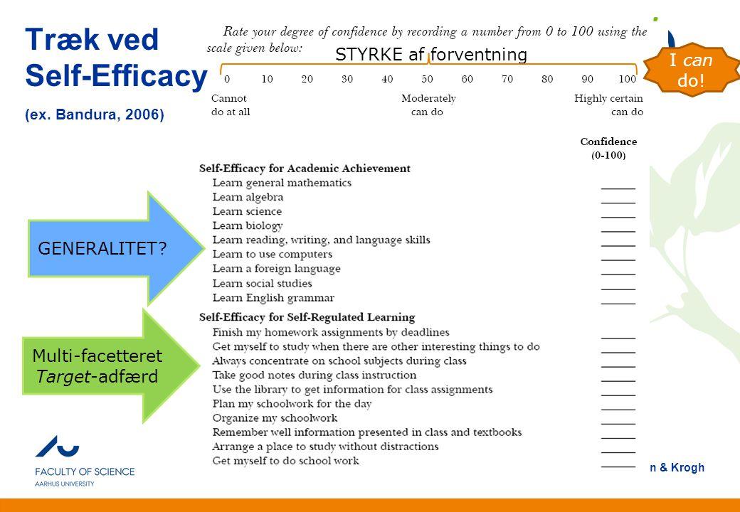 Træk ved Self-Efficacy (ex. Bandura, 2006)