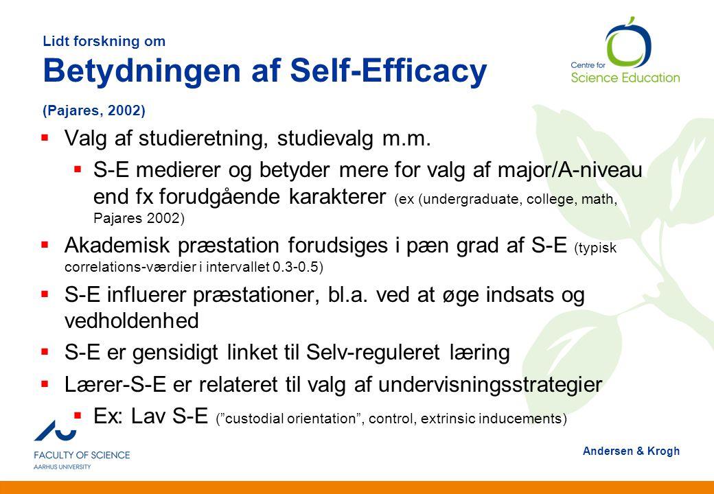 Lidt forskning om Betydningen af Self-Efficacy (Pajares, 2002)