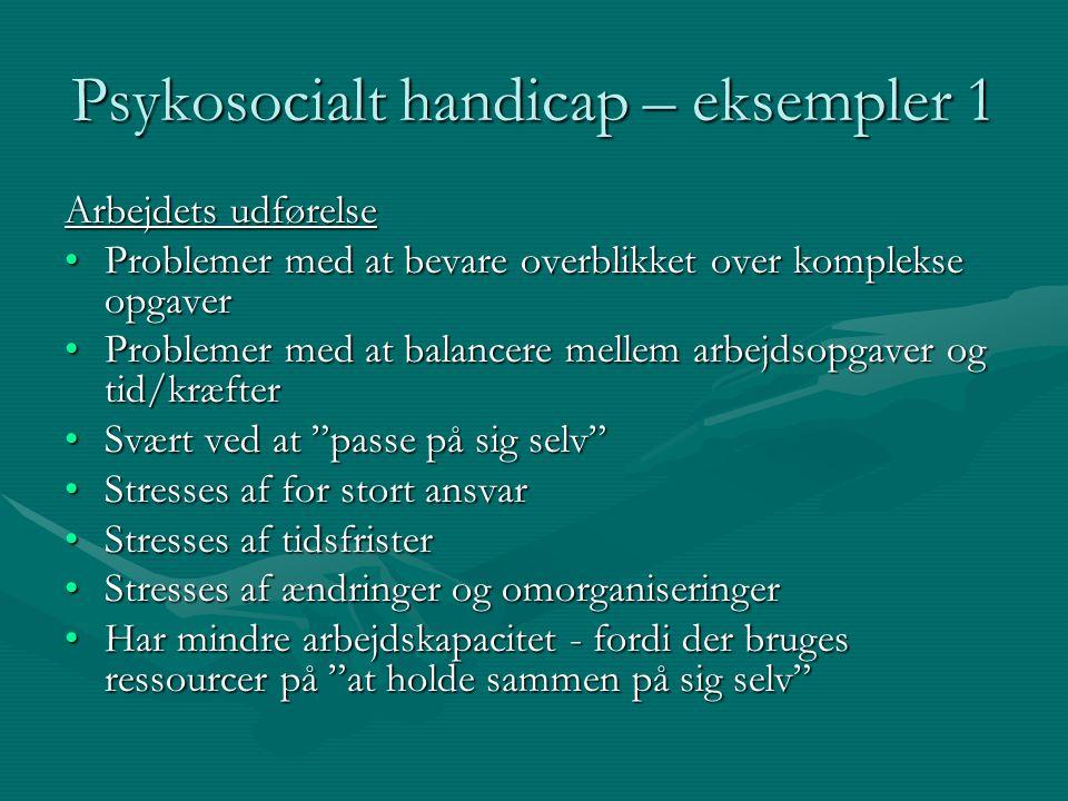 Psykosocialt handicap – eksempler 1