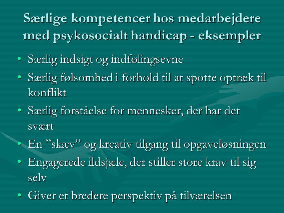 Særlige kompetencer hos medarbejdere med psykosocialt handicap - eksempler