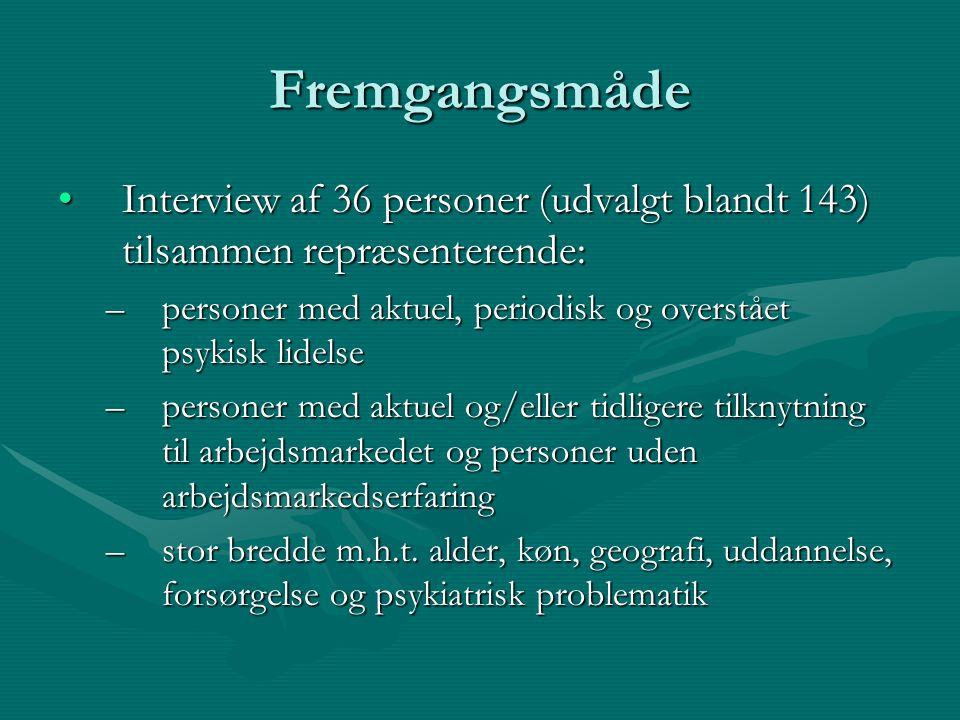 Fremgangsmåde Interview af 36 personer (udvalgt blandt 143) tilsammen repræsenterende: personer med aktuel, periodisk og overstået psykisk lidelse.