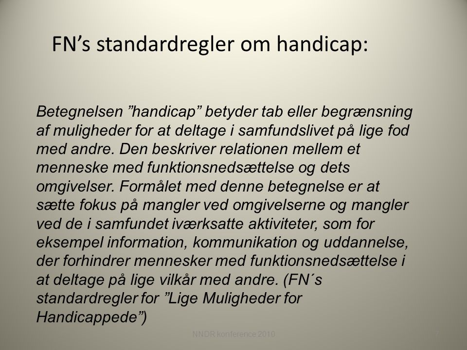 FN's standardregler om handicap: