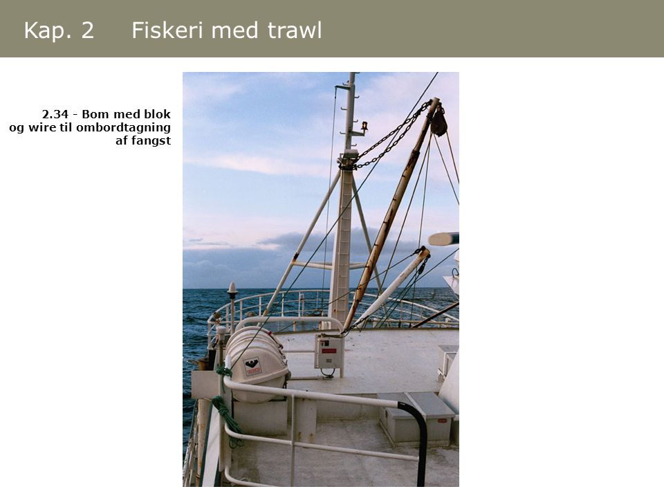 Kap. 2 Fiskeri med trawl 2.34 - Bom med blok og wire til ombordtagning af fangst