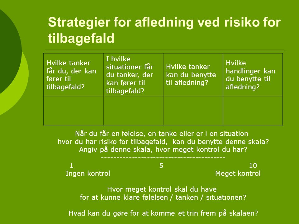 Strategier for afledning ved risiko for tilbagefald