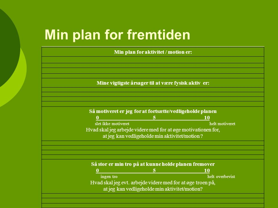 Min plan for fremtiden Min plan for aktivitet / motion er:
