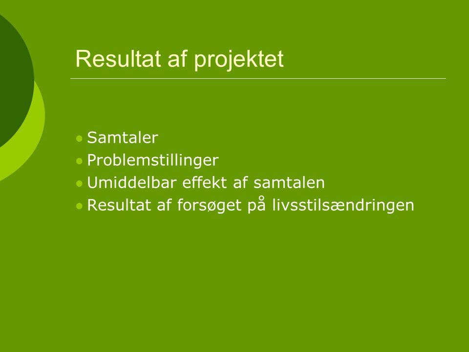 Resultat af projektet Samtaler Problemstillinger