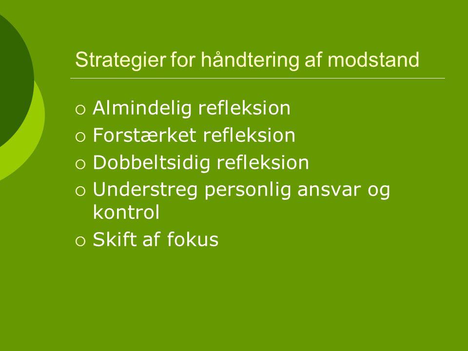 Strategier for håndtering af modstand