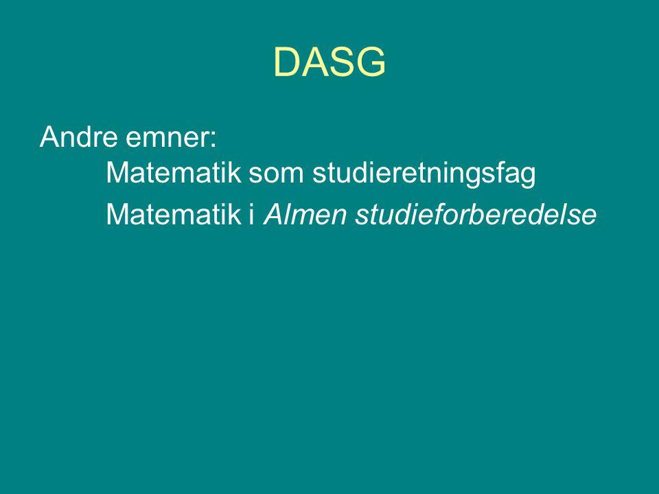 DASG Andre emner: Matematik som studieretningsfag