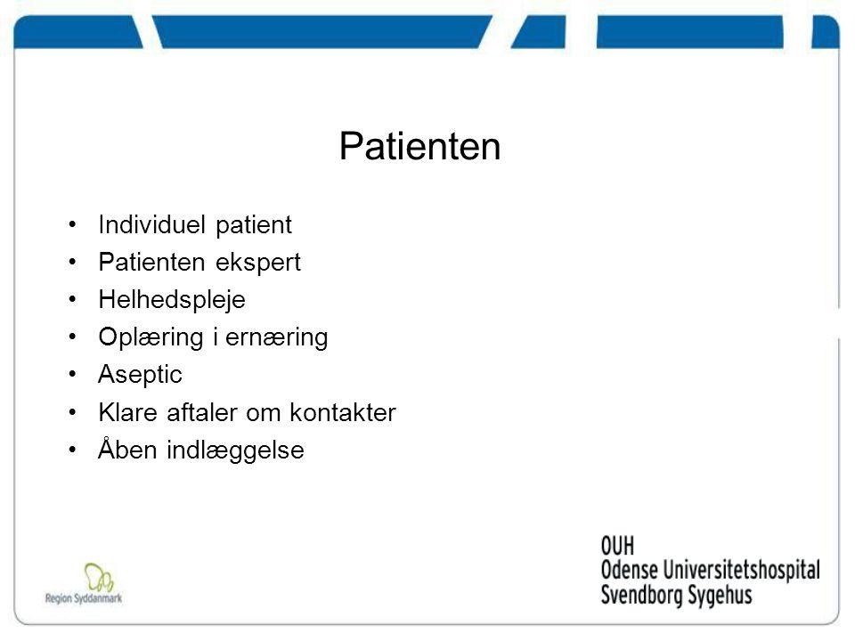Patienten Individuel patient Patienten ekspert Helhedspleje