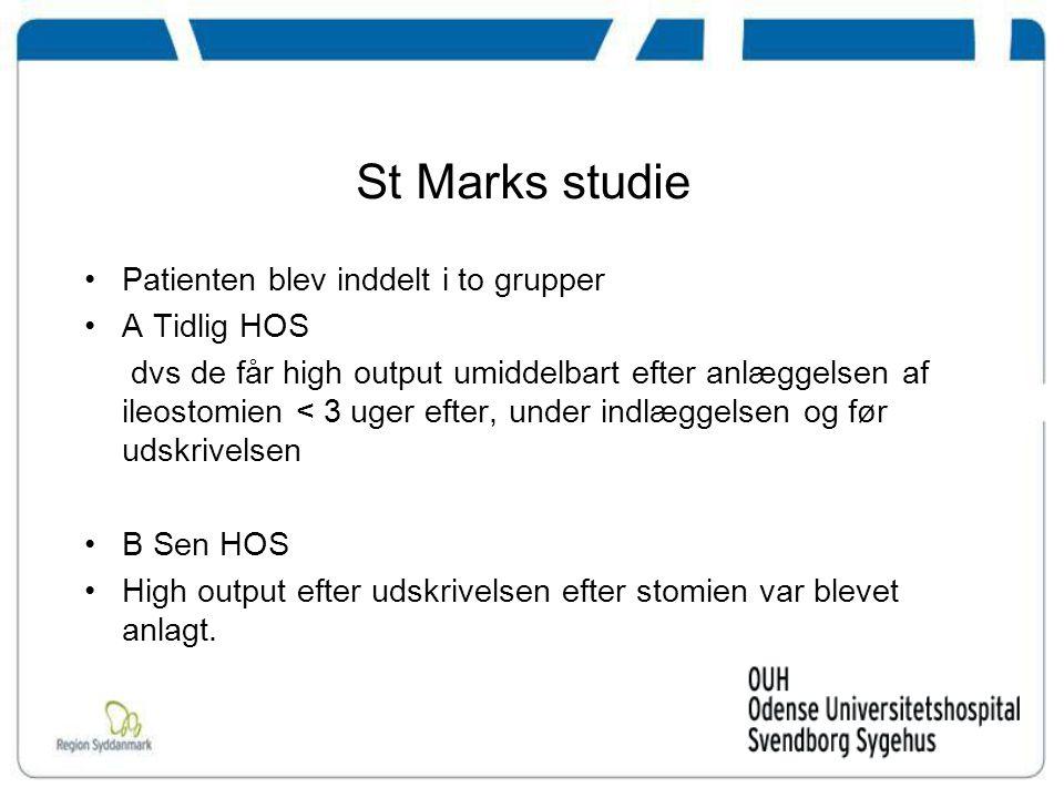 St Marks studie Patienten blev inddelt i to grupper A Tidlig HOS
