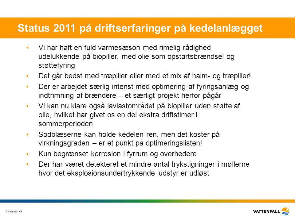 Status 2011 på driftserfaringer på kedelanlægget